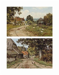 a sussex farm (+ limborne farm, sussex (both illustrated); pair) by edward wilkins waite