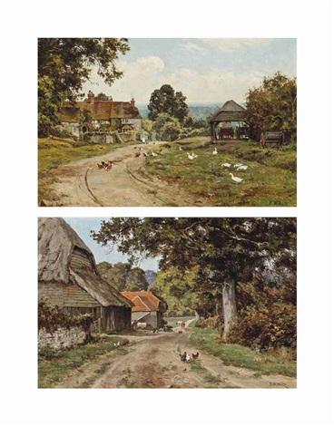 a sussex farm (+ limborne farm, sussex (both illustrated); pair) by edward wilkins waite