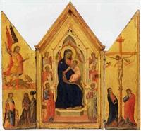 madonna con bambino in trono, san giacomo maggiore, san pietro, un angelo,... by lippo di benivieni