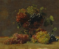 a variety of california grapes in a glass vase by william j. mccloskey
