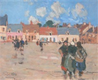 place animée à étaples by jules adler