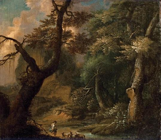 waldlandschaft mit ziegenhirte by maximilian joseph schinnagl and franz christoph janneck