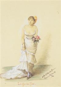 figura femminile in piedi in atto di porgere dei fiori by emma gaggiotti-richards