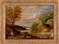 bergers et troupeau dans un paysage by david teniers the younger