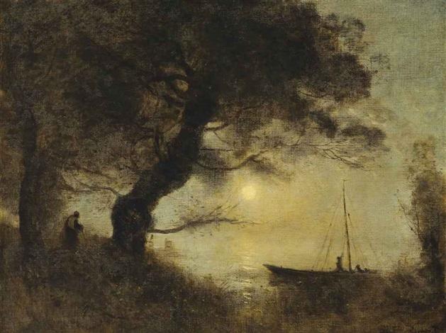 le bateau au claire de lune by jean baptiste camille corot