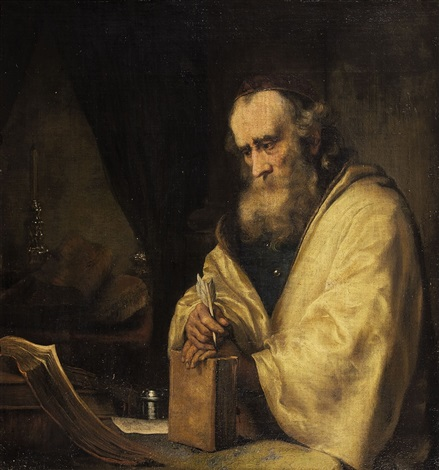 philosopher or apostel with quill and book by ferdinand bol