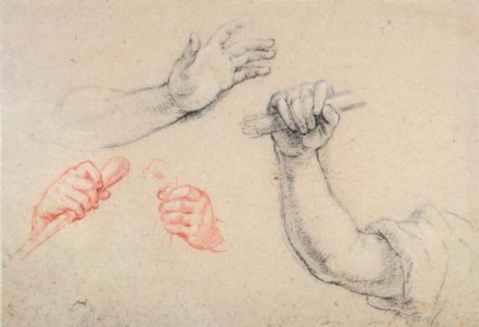etudes de mains study by charles de la fosse