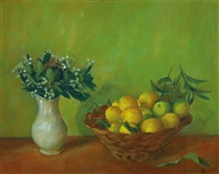 basket with limes by margaret hannah olley