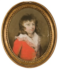 portrait of a boy in a red jacket by lady diana beauclerk