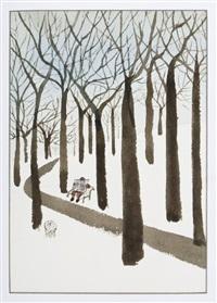 central park en invierno con señor leyendo el periódico by abel quezada