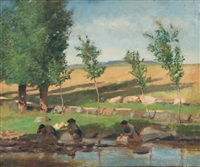 washing clothes at the river's edge by william brymner