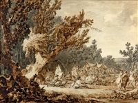 fête dans un campement sous les arbres by francesco giuseppe casanova
