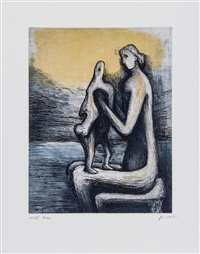 mother and child (portfolio of 30) by henry moore