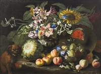 nature morte (still life with fruit and dog) by abraham brueghel
