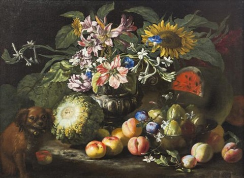 nature morte still life with fruit and dog by abraham brueghel