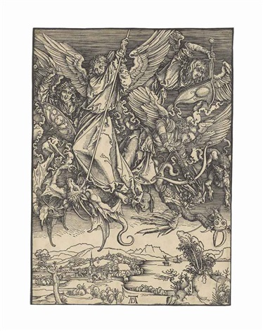 saint michael fighting the dragon from the apocalypse by albrecht dürer