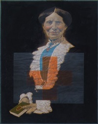 seated woman with red cross banner (clara barton... founder of the american national red cross) (illus. for national park service) by mark english