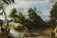 paysage de rivière animé de pêcheurs by jan wildens