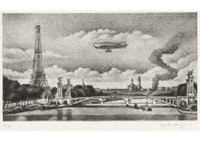 pont alexandreiii et dirigeable francais by hasegawa kiyoshi