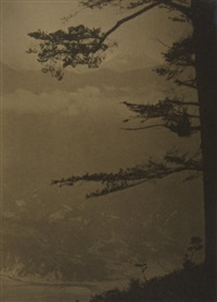 untitled (japanese landscape with mount fuji) by arnold genthe