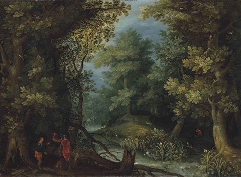 hunters with hounds by a stream in a wooded landscape by jan brueghel the elder
