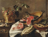 a copper basket with apples, grapes, a eurasian jay, a thrush and a bullfinch, salmon and various other fish in a colander, a stump of celery... by frans ykens
