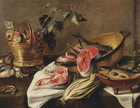 a copper basket with apples grapes a eurasian jay a thrush and a bullfinch salmon and various other fish in a colander a stump of celery by frans ykens