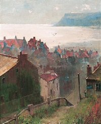 in the morning gleam - robin hood's bay by john henry inskip
