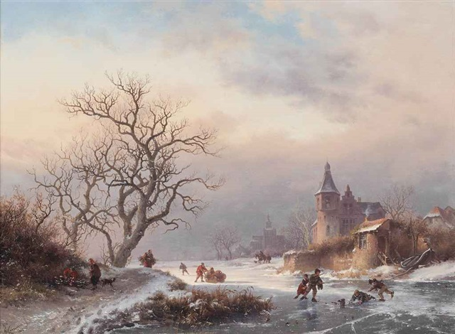 skaters playing on a dutch waterway by frederik marinus kruseman