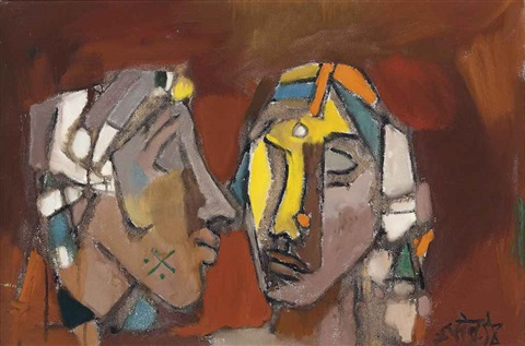 untitled two heads by maqbool fida husain