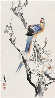 玉兰鹦鹉 立轴 设色纸本 (magnolia and parrot) by wang xuetao