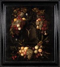 guirlande de fruits et de fleurs autour d'un crucifix by alexander coosemans