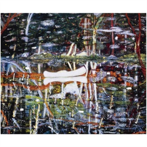 white canoe by peter doig