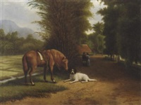 indonesian landscape with horse and dog by dirk g. altman