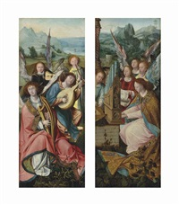 angels playing a harp, lute and other instrument; an angel playing an organ accompanied by an angelic choir (2 wings of triptych) by antwerp school