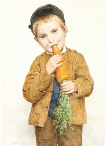 das bübli mit dem grossen rübli the little boy with the big carrot by albert anker