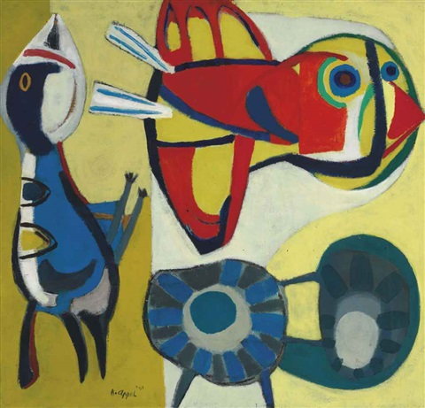 two birds and a flower by karel appel