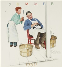 boy and shopkeeper: the fly swatter by norman rockwell