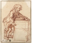 a sketch of a savoyard boy with his peep-show box by jean baptiste greuze