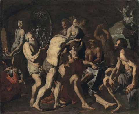 venus asking vulcan to make arms for aeneas by master of the annunciation to the shepherds