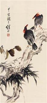 花鸟 立轴 纸本设色 by liu jiyou