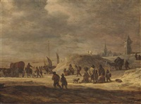 fishermen and peasants on a beach with a village beyond by adriaen van der cabel