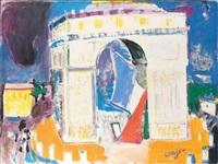 l'arc de triomphe un jour de commémoration by bernard lorjou