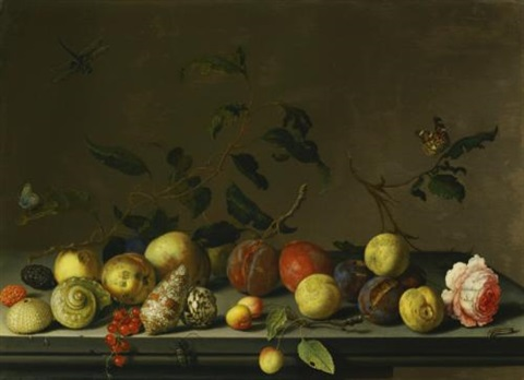 a still life of fruit and shells with a rose and various insects upon a stone ledge by balthasar van der ast