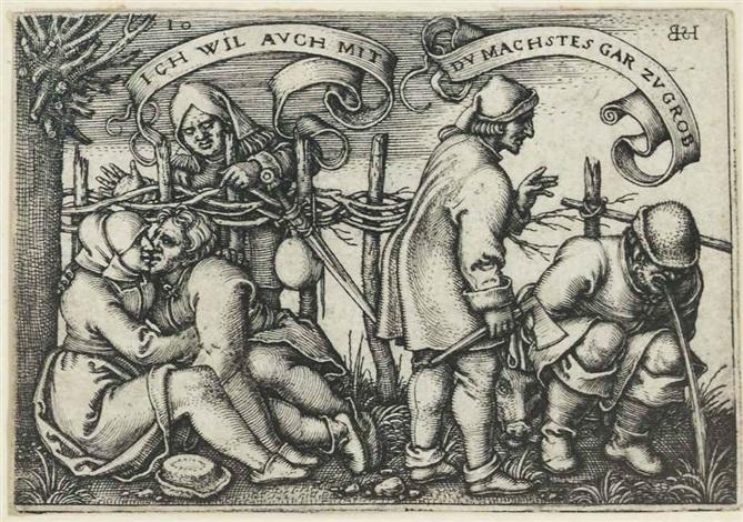 peasants behind the hedge from the peasants feast the twelve months by hans sebald beham