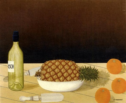 nature morte avec ananas et oranges by dominique paul peyronnet