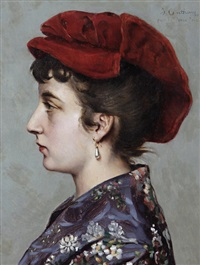 portrait of a lady in profile by jean-baptiste anthony