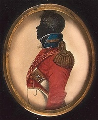 a field rank officer, profile to the left, wearing uniform of the 73rd highland regiment of foot, scarlet coatee with blue collar, gold epaulette with thistle on the strap, white cross belt by john buncombe