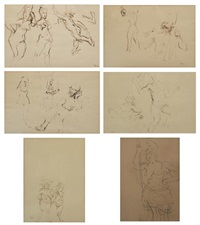 studies for the judgement of paris (6 works) by jack levine