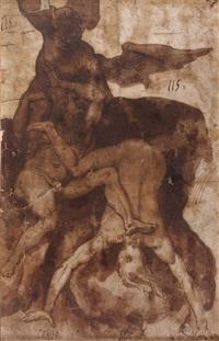 étude pour le jugement dernier du dôme de florence : damnés se faisant précipiter en enfer (study) by federico zuccaro